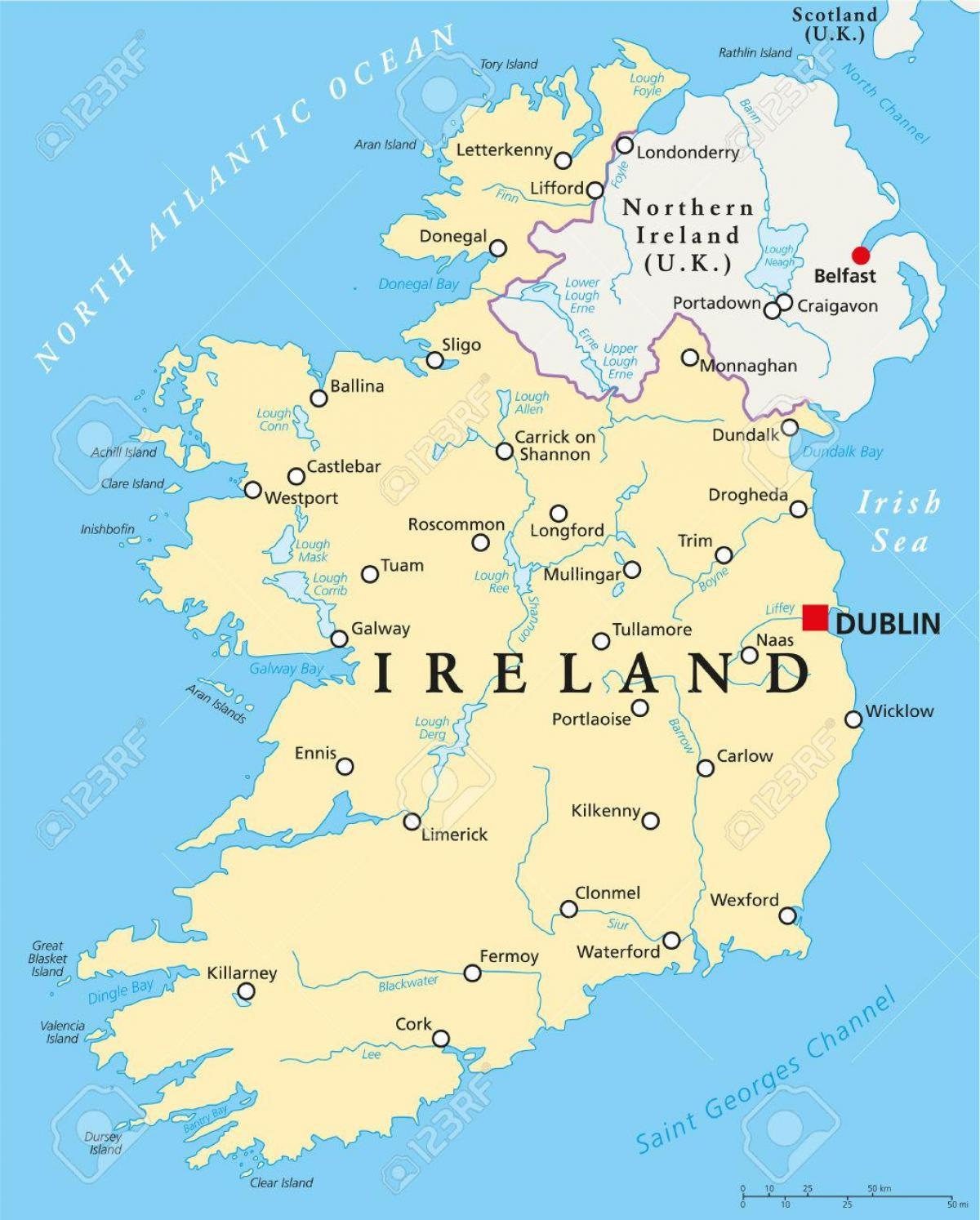 irska mapa Dublin irsko mapa Dublinu, mapa irska (Irsko) irska mapa